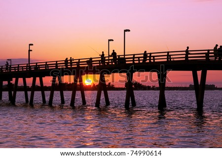 Sunset at the fishing pier,Sarasota Florida - stock photo