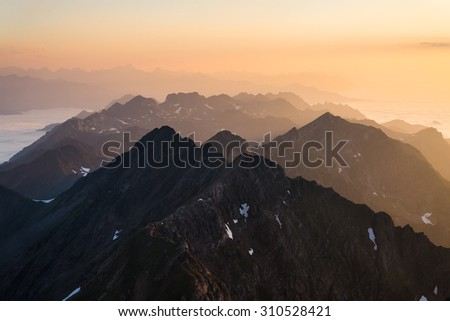 Sunset at the French Pyrenees. - stock photo