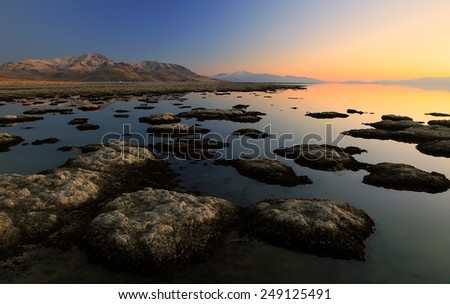 Sunset at the Great Salt Lake, Utah, USA. - stock photo