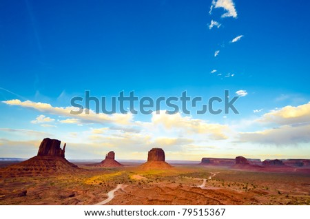 Sunset at the Monument Valley - stock photo