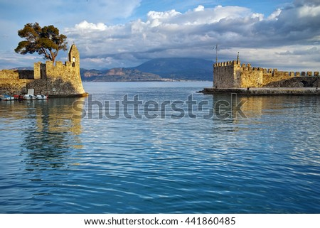 Sunset at the port of Nafpaktos town, Western Greece