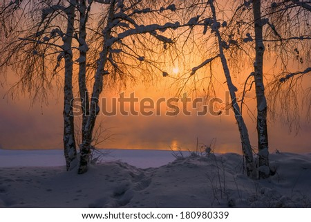 Sunset at the river Angara in Irkutsk. - stock photo