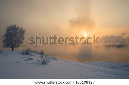 Sunset at the river Angara in Irkutsk - stock photo