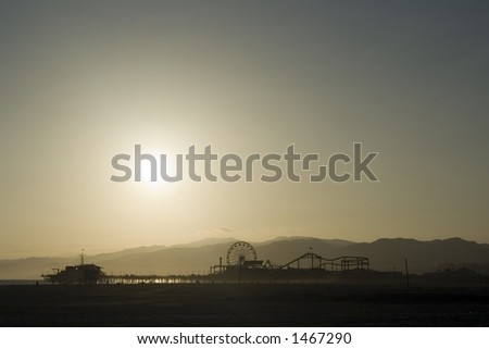 Sunset at the Santa Monica Pier - stock photo