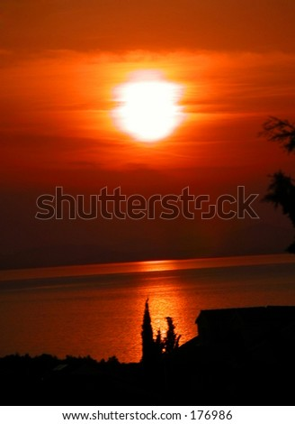 Sunset at the sea - stock photo