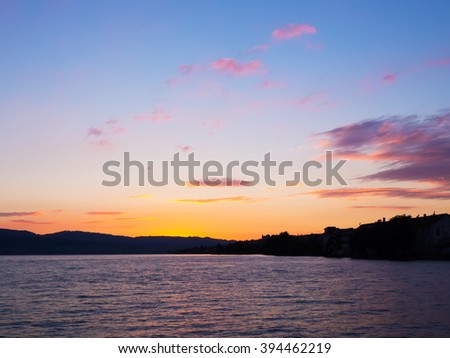 Sunset at the sea with blue sky.