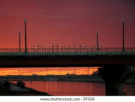 Sunset at the South Agnew Bridge, Oklahoma City - stock photo