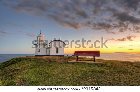 Sunset at the Tacking Point Lighthouse at Port Macquarie, NSW, Australia - stock photo