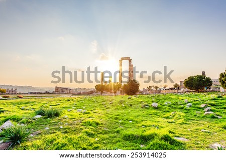 Sunset at the Temple of Hercules on the Citadel Mountain in Amman, Jordan. Amman Citadel is known in Arabic as Jabal al-Qal'a.  - stock photo