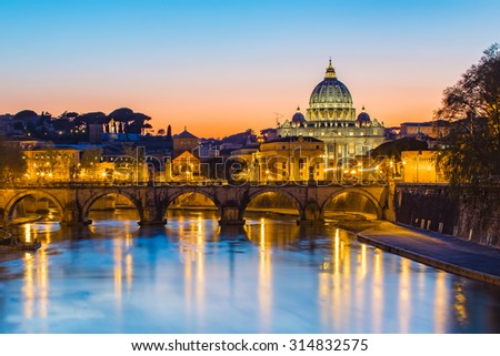 Sunset at the Vatican City. - stock photo