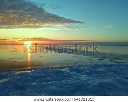 Sunset at the winter sea
