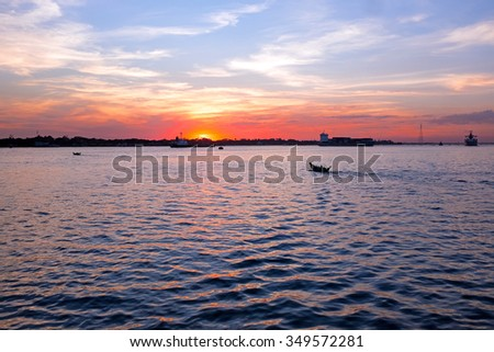 Sunset at the Yangon river in Yangon Myanmar