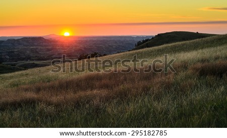 Sunset at Theodore Roosevelt Wilderness - stock photo