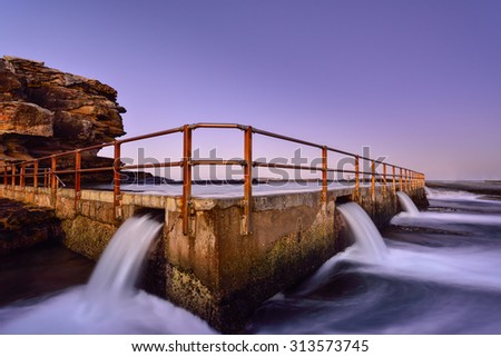 Sunset at Tidal pool in North curl curl. Sydney, Australia - stock photo