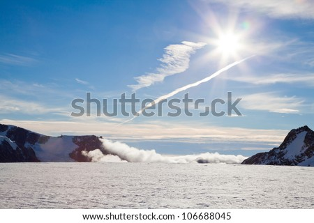 Sunset at top of Franz Josef Glacier New Zealand - stock photo