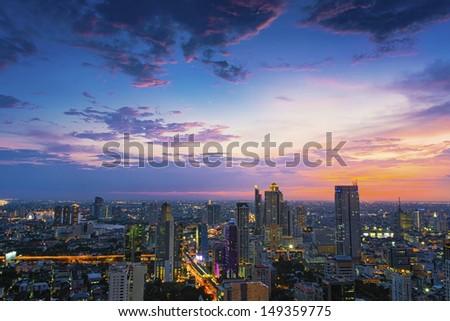 Sunset at Top view of Building, Bangkok, Thailand - stock photo