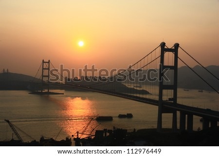 Sunset at Tsing Ma Bridge, Hong Kong