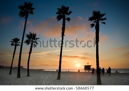 sunset at Venice Beach, Los Angeles - stock photo