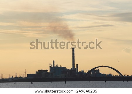 sunset at venice port marghera - stock photo