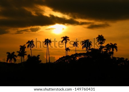 Sunset at Vinales Valley, Cuba - stock photo