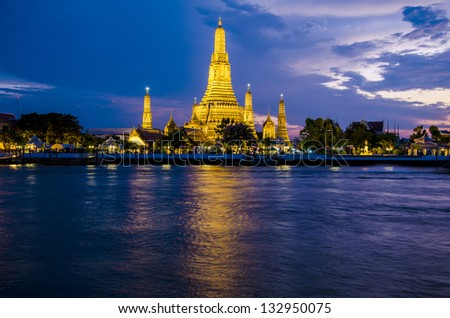 Sunset at Wat Arun, Bangkok, Thailand - stock photo