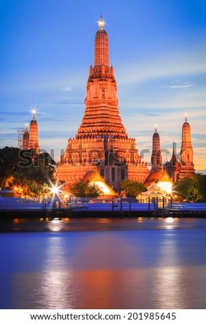 Sunset at Wat Arun, Bangkok Thailand - stock photo