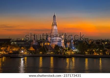Sunset at Wat Arun temple in Bangkok,Thailand - stock photo