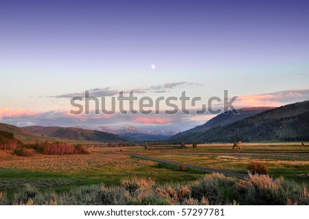 Sunset at YellowStone National Park - stock photo