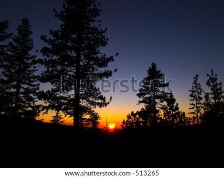 Sunset at Yosemite National Park - stock photo