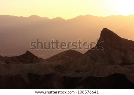 sunset at Zabriski Point, Death Valley National Park, California - stock photo