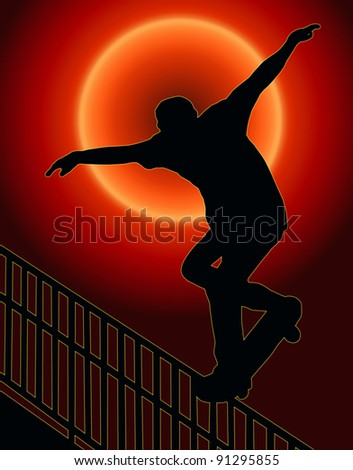 Sunset Back Skateboarding Skater do Nosegrind Rail Slide with Board Silhouette - stock photo