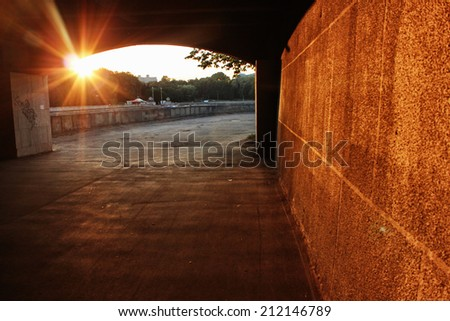 Sunset background or Sunset in the city, End of summer - stock photo