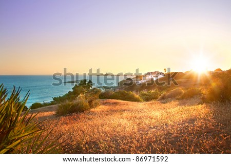 Sunset beach landscape - stock photo