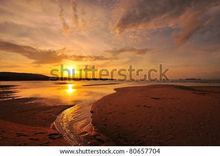 Sunset Beach on the Island - stock photo