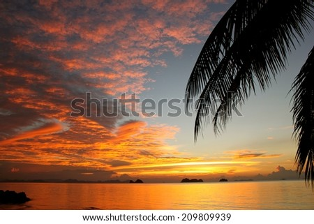 Sunset beach on tropical paradise island Koh Samui - stock photo