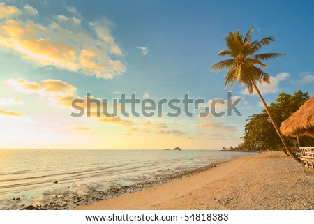 Sunset beach with palm trees and bungalow. Thailand, Koh Chang Island, Kai Bae - stock photo