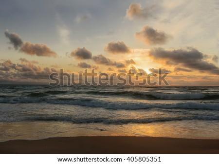 Sunset. Beautiful sunset at black sea. Gold sea sunset. Sea sunset. Sea sunset background. Amazing sea sunset Sunset sea picture. Sunset sea waves. Summer sunset.  - stock photo