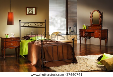 sunset bedroom - stock photo