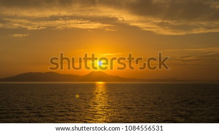 Sunset behind Corful Island