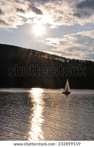 Sunset behind Dam in Brno, Czech Republic - stock photo