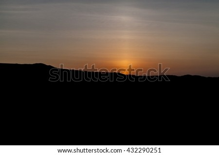 Sunset behind the sand dunes near Huacachina oasis, Peru - stock photo