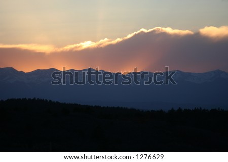 Sunset behind the Sangre De Cristo Mountains