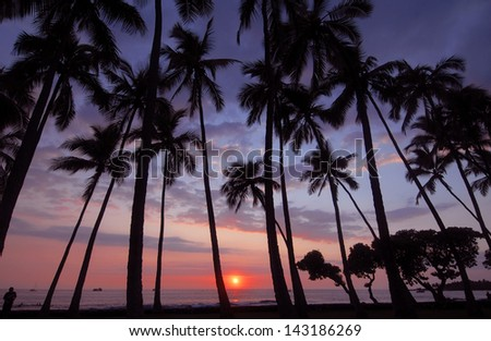 Sunset, Big Island of Hawaii, USA - stock photo
