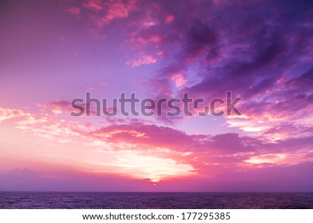 Sunset. blue sky and clouds. Beauty natural background - stock photo