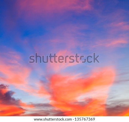 Sunset. blue sky and clouds Nature
