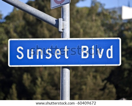 Sunset Blvd sign.  Los Angeles's famous route from downtown to Beverly Hills. - stock photo
