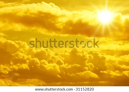 Sunset - bright sun in the sky