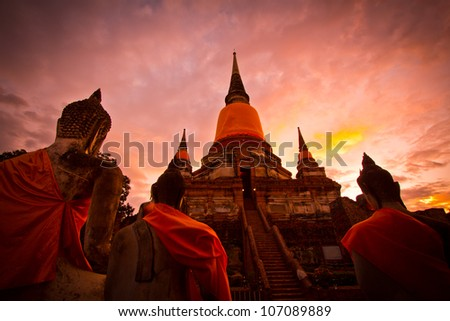 sunset Buddha old in ayuthaya thailand - stock photo