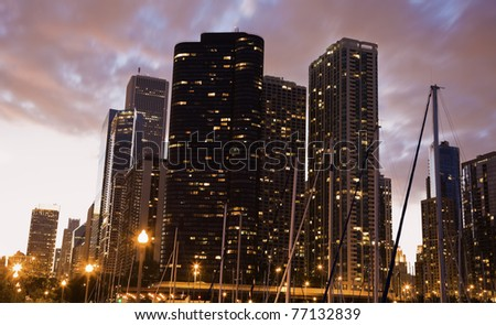 Sunset by marina in downtown of Chicago.