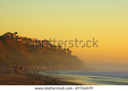 Sunset Californian beach - stock photo